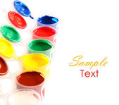 Paints of various colors with space for text — Stockfoto