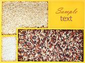 Sortiment rýže v dřevěné krabici s kopií prostor — Stock fotografie