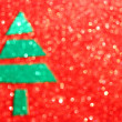 Christmas tree with defocused lights. Red background — Stock Photo #29292215