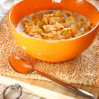 Bowl of sugar-coated corn flakes — Stock Photo