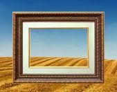 Marco de oro y el paisaje de campo — Foto de Stock