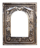 Ancient silver frame isolated — Stock Photo