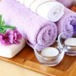 Spa and wellness setting with natural soap, candles and towel — Foto Stock