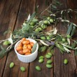 Homemade piquant olives — Stock Photo