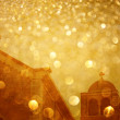Fence spears and glitter gold light burst — Stock Photo