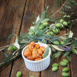 Stock Photo: Homemade piquant olives