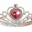 Toy tiara with pink diamond. — Stock Photo