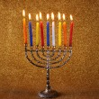 Hanukkah menorah with Burning candles — Stock Photo