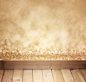 Golden bokeh background and wood planks — Stock Photo
