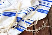 Prayer Shawl - Tallit, jewish religious symbol — Stock Photo