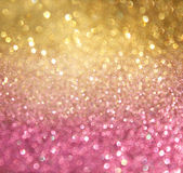 Golden and pink abstract bokeh lights. defocused background — Stock Photo