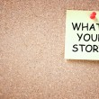 What is your story concept. sticky pinned to cork board with room for text. — Stock Photo #40855005