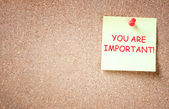 The phrase you are important written over sticky note. room for text. — Stock Photo