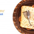 Passover background. wine and matzoh (jewish passover bread). isolated — Stock Photo #41844747