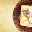 Passover background. wine and matzoh (jewish passover bread) — Stock Photo