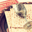 Stock Photo: Passover background. wine and matzoh (jewish passover bread). isolated
