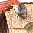 Passover background. wine and matzoh (jewish passover bread). isolated — Stock Photo