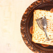Stock Photo: Passover background. wine and matzoh (jewish passover bread)