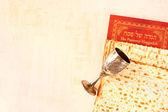 Passover background. wine and matzoh (jewish passover bread) — Stock Photo