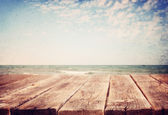 Sea landscape with boards — Stock Photo