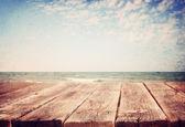 Sea landscape with boards — Stock Photo