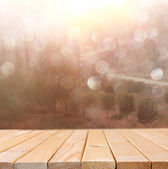 Table and summer landscape — Stock Photo