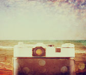 Vintage camera back view - filtered image — Stock Photo