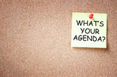 Sticky note with the phrase whats your agenda. room for text. — Stock Photo