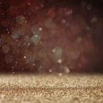 Glitter vintage lights background. light gold and black. defocused — Stock Photo #50517067