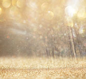 Abstract photo of light burst among trees and glitter bokeh lights. — Stock Photo