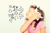 Curious kid listen to seashell. discovery and learning concept. — Stock Photo