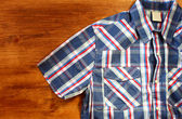 Close up of vintage male shirt, Checkered pattern — Stock Photo