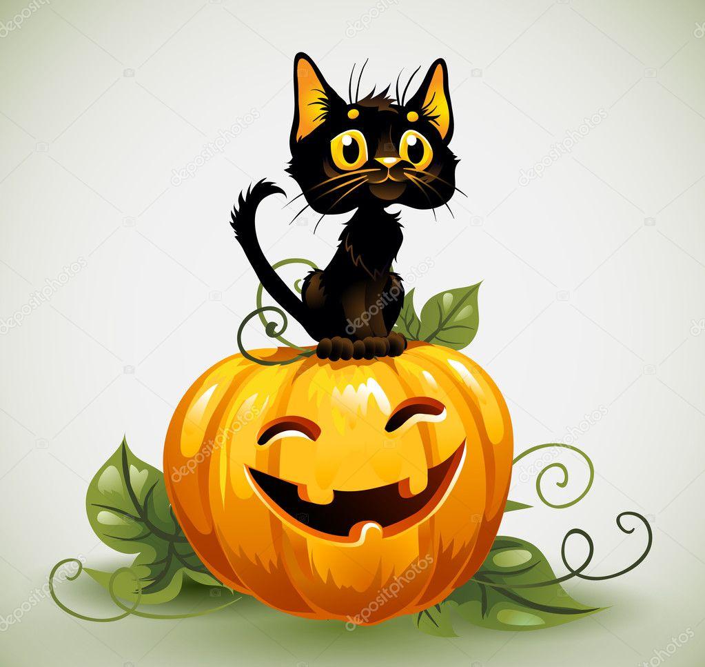 schwarze katze auf halloween k rbis stockvektor 12771056. Black Bedroom Furniture Sets. Home Design Ideas
