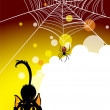 Halloween spider web and black cat background. — Stock Vector