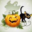 Black cat Halloween pumpkin and ghost. — Stock Vector