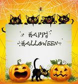 Black Cats Halloween background — Stock Vector