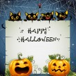 Black Cats night Halloween background — Stock Vector