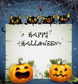 Black Cats night Halloween background — Stock Vector