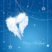Merry Christmas angel wings background. — Vector de stock