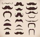 Set of brown mustache — Stock Vector
