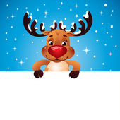 Happy Reindeer holding blank paper for your text — Stock Vector