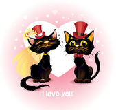 Two black cats in love. — Stock Vector