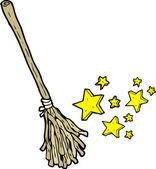 Magic witches broom cartoon — Stock Vector