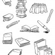 Royalty-Free Stock Vector Image: Books and pens cartoon collection (raster version)