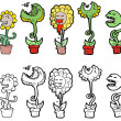 Cartoon bloem bestuiving — Stockvector