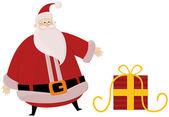 Santa and sack in snow — Stock Vector