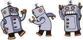 Vector cartoon robots dancing the robot — Stock Vector