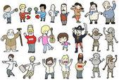 Funny cartoon collection (raster version) — Stock Vector
