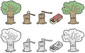 Cartoon deforestation collection — Stock Vector