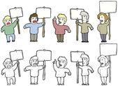Protesters cartoon — Stock Vector